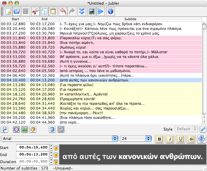 Jubler for Mac OS X full screenshot